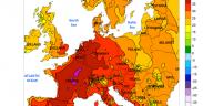 Máxima Temperatura Máxima na Europa (° C) no 24 July 2019; contornos gerados por computador, com base em dados preliminares. Administração Nacional Oceânica e Atmosférica (NOAA)
