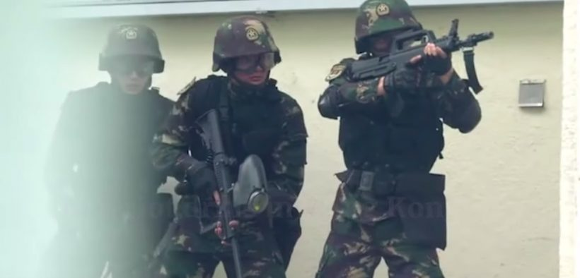 Screenshot of anti-riot video released by Chinese Army. (Photo: YouTube)