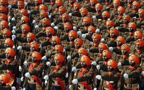 Soldiers of the Sikh Light Infantry during a Republic Day Parade