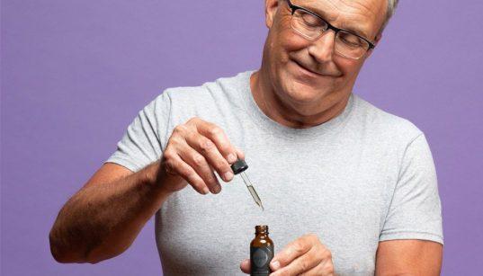 man with cbd/hemp oil