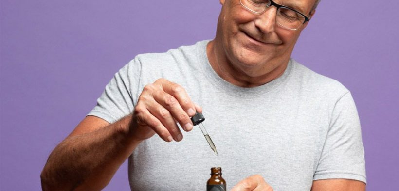 man with cbd/hemp oil