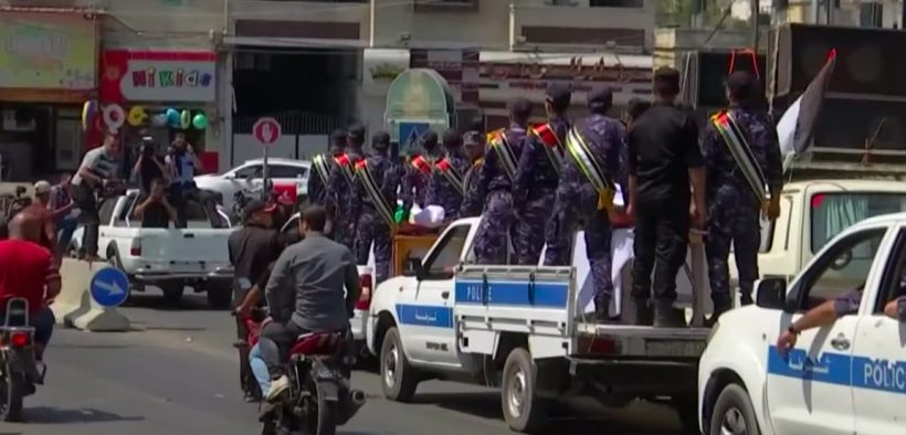 Funeral procession for one of the three police officers killed in Tuesday's attacks. (Photo: YouTube screenshot)