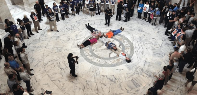 Catholics protesting the treatment of undocumented migrants in US custody at the Senate, on the Catholic Day of Action for Immigrant Children, July 18, 2019. (Photo: Eli McCarthy, The Conversation)