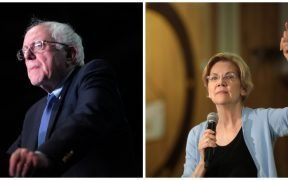 U.S. Senator Bernie Sanders speaking with supporters at a 2016 campaign rally at the Phoenix Convention Center in Phoenix, Arizona. U.S. Senator Elizabeth Warren speaking with supporters in April, 2019 at a town hall at Bonanza High School in Las Vegas, Nevada. (Both Photos: Gage Skidmore)
