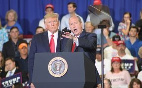President Donald Trump and Dan Bishop at the Keep America Great rally in Fayetteville, NC on 9/9/2019 Date