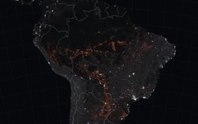 The map above shows active fire detections in Brazil as observed by Terra and Aqua MODIS between August 15-22, 2019. The locations of the fires, shown in orange, have been overlain on nighttime imagery acquired by VIIRS.