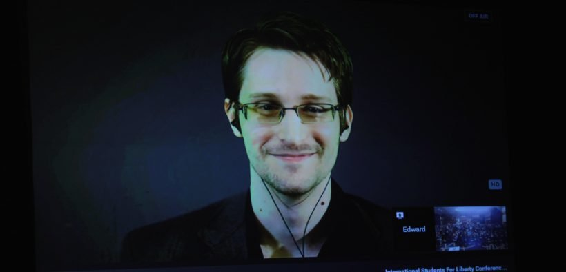 Edward Snowden speaking at the 2015 International Students for Liberty Conference at the Marriott Wardman Park Hotel in Washington, D.C.