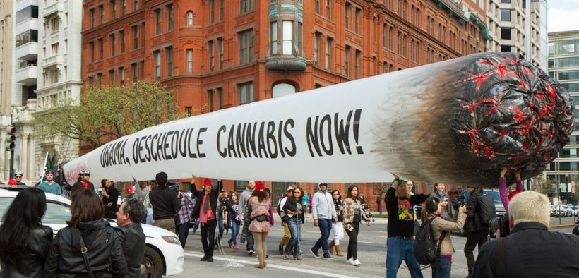 Proponents of marijuana legalization in Washington, D.C., organized by a group called DCMJ, carry a 51-foot inflatable joint near the White House. Lafayette Sq. - Washington, DC. Date: April 2, 2016.