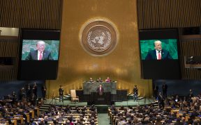 President Donald J. Trump addresses the 73rd session of the U.N. General Assembly Tuesday, Sept. 25, 2018, at the United Nations Headquarters in New York. (Photo: White House, Joyce N. Boghosian)