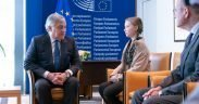"""Teen titan: 16-year-old climate activist Greta Thunberg met with EU officials and members of the European Parliament on April 16, 2019, in Strasbourg, where making an impassioned plea to save the planet. """"If our house was falling apart our leaders wouldn't go on like we do today,"""" she said. """"If our house was falling apart, you wouldn't hold three emergency Brexit summits and no emergency summit regarding the breakdown of the climate and the environment."""" Credit: European Parliament / Flickr"""