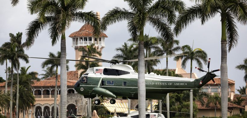 President Donald J. Trump aboard Marine One lands back at Mar-a-Lago as an escort helicopter hovers Friday, March 29, 2019