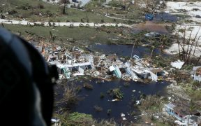 The U.S. Coast Guard inspects damaged areas by Hurricane Dorian in support of search and rescue and humanitarian aid in the Bahamas, Sept. 4, 2019. The Coast Guard is supporting the Bahamian National Emergency Management Agency and the Royal Bahamian Defense Force, who are leading search and rescue efforts in the Bahamas (Photo: U.S. Coast Guard Seaman Erik Villa Rodriguez)