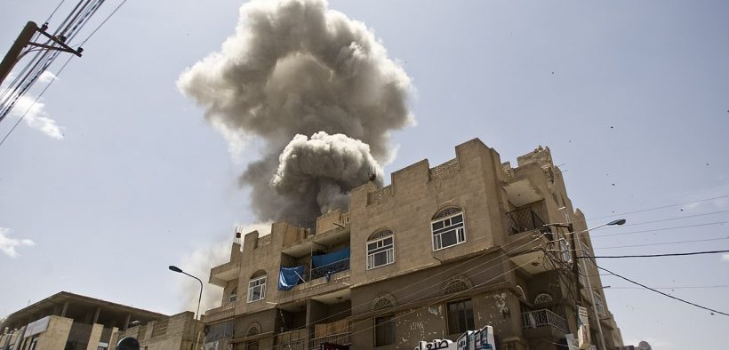 Aerial bombardments on Sana'a, Yemen from Saudi Arabia, 2016. (Photo: Fahd Sadi)