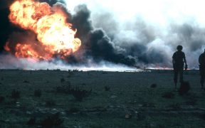 Burning oilfield during Operation Desert Storm, Kuwait