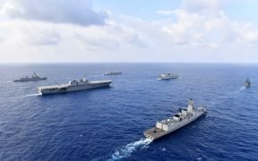 U.S.Navy guided-missile destroyer USS William P. Lawrence (DDG 110), top middle, transits through international waters with the Indian Navy destroyer INS Kolkata (D 63) and tanker INS Shakti (A 57), Japan Maritime Self-Defense Force helicopter-carrier JS Izumo (DDH 183) and destroyer JS Murasame (DD 101), and Republic of Philippine Navy patrol ship BRP Andres Bonifacio (PS 17). Date: May 5, 2017. (Photo: Japan Maritime Self Defense Force)