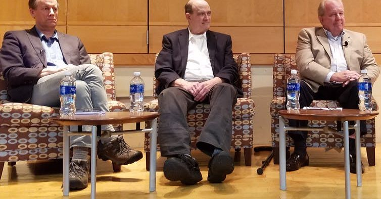 From left, NSA whistleblowers Thomas Drake, William Binney and Kirk Wiebe, who all alleged retaliation from the governme