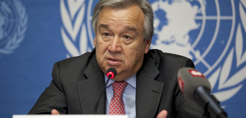 Генеральный секретарь ООН Антонио Гутерриш информирует международные средства массовой информации в Женеве о 3, 2012.