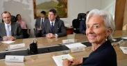 A diretora do FMI, Christine Lagarde, em reunião com o ministro das Finanças do Brasil, Joaquim Levy. Maio, 2015.