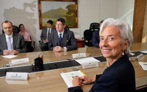 IMF director Christine Lagarde in a meeting with Brazil's Finance Minister Joaquim Levy. May, 2015.