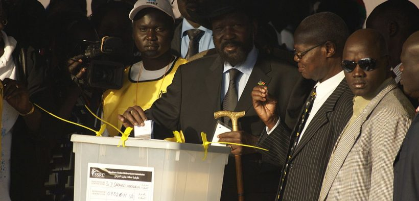 South Sudanese President Salva Kiir casting his vote in the 2011 independence referendum.