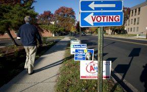 Избиратель проходит мимо знаков кандидата в день выборов 2014.