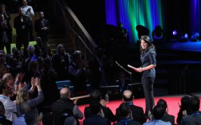 Monica Lewinsky receiving a standing ovation after her TED talk in 2015. Her new documentary 15 Minutes of Shame will look at bullying and cancel culture.