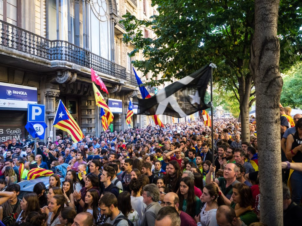 Protests in Barcelona in support of the Catalunya independence movement after Spanish police raided Catalan government buildings, 20 September 2017