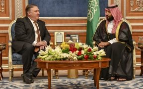 Secretary of State Michael R. Pompeo meets with Saudi Crown Prince Mohammed bin Salman, in Riyadh, Saudi Arabia, on October 16, 2018.