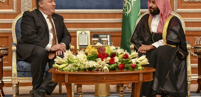 Государственный секретарь Майкл Р. Помпео встречается с наследным принцем Саудовской Аравии Мухаммедом бен Салманом в Эр-Рияде, Саудовская Аравия, 16, 2018.
