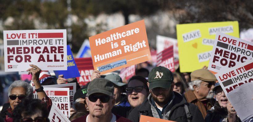 Protesto do Medicare For All em janeiro 27, 2017.