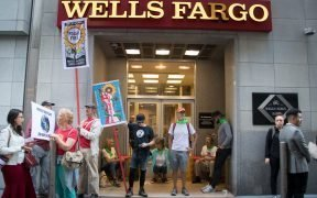 During the Global Youth Climate Strike on September 25, 2019 protesters gather outside Wells Fargo in San Francisco, CA to protest the bank's role in financing the fossil fuel industry. (Photo: Peg Hunter)