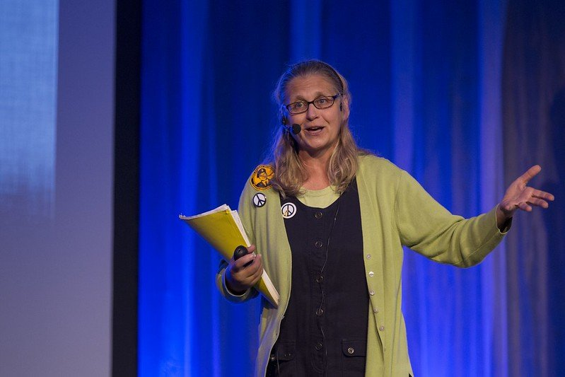 """Coleen during her talk, """"Secrecy Kills"""" at OHM 2013."""