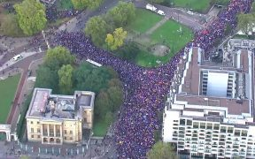 Tens of thousands of anti-Brexit protesters take to streets of London on October 19, 2019.