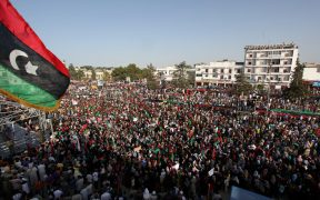 Mass demonstration against the regime of Gaddafi in Bayda, Libya. Date: July 22, 2011.