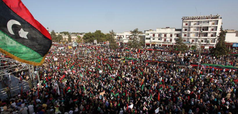 Mass demonstration against the regime of Gaddafi in Bayda, Libya. Date: July 22, 2011.
