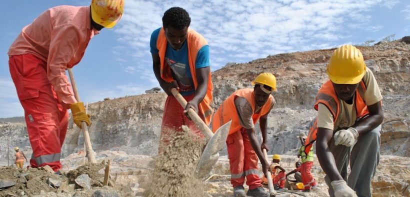 Ethiopian men working on the Renaissance Dam Project in 2014.