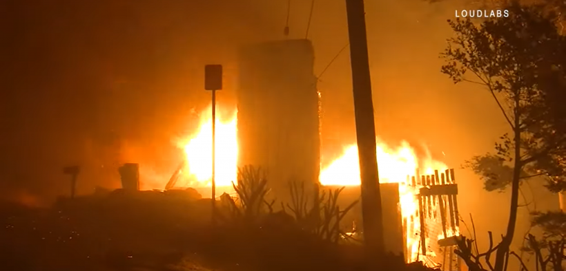 The Getty Fire burning a home in the Los Angeles hills. (Photo: YouTube)