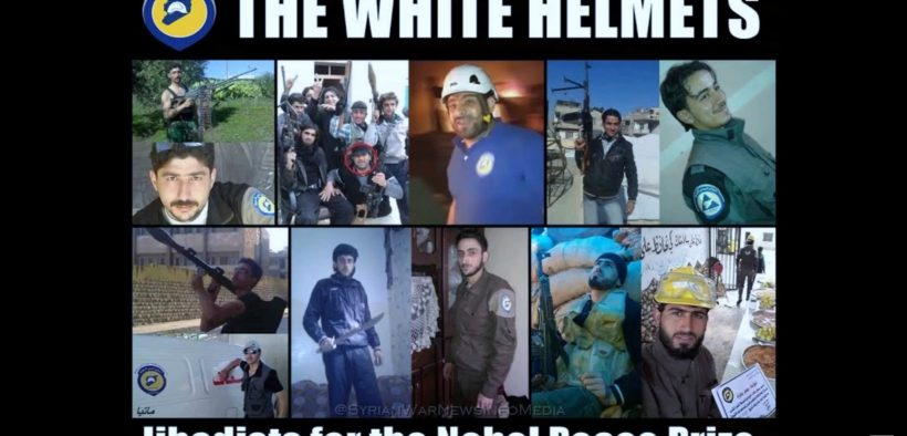 Syrian White Helmet members photographed in White Helmet uniforms and carrying guns. (Photo: YouTube)