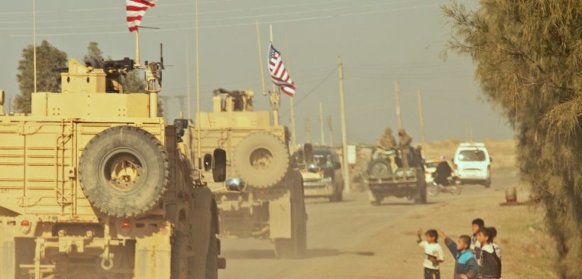A convoy of U.S. soldiers in Syria during the Syrian War, December, 2018.