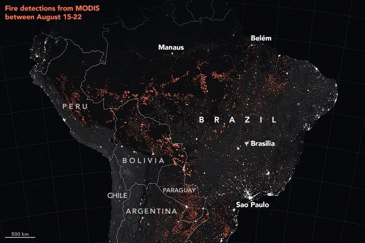 This map above shows active fire detections in Brazil as observed by NASA satellites between August 15-22, 2019.