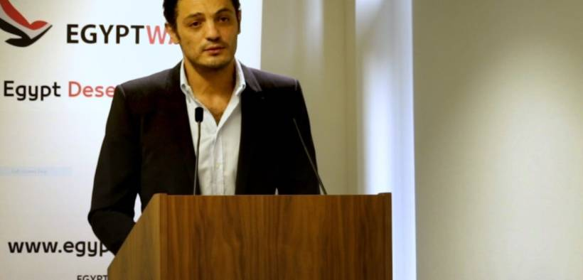 Film producer and real-estate investor Mohamed Ali Abdel Khaleq at a press conference in London organised by Egypt Watch on 20 November 2019 [Middle East Monitor]
