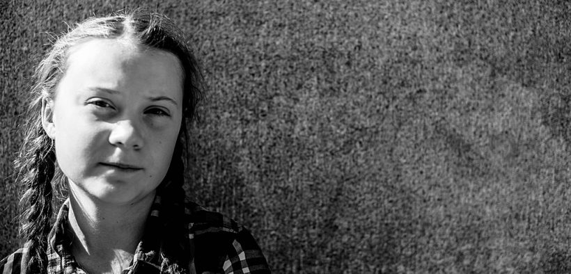 Greta Thunberg, outside the Swedish parliament.