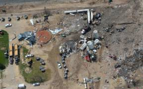 Aerial photo of the West, Texas fertilizer plant explosion site taken several days after blast: April 22, 2013.