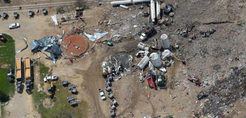 Aerial photo of the West, Texas fertilizer plant explosion site taken several days after blast: April 22, 2013.