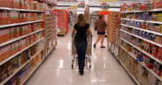 Woman shopping at a grocery store.
