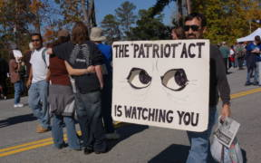 A protest of the Patriot Act and the Defense Department's School of the Americas in 2006.