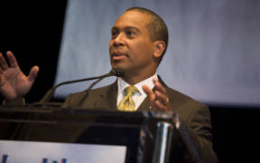 Then Massachusetts Governor Deval Patrick speaks at a 2008 Health Care Caucus in Denver.