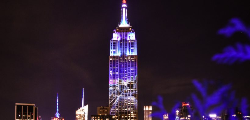 The Empire State building is lit up red, white and blue for election day in November 2016.