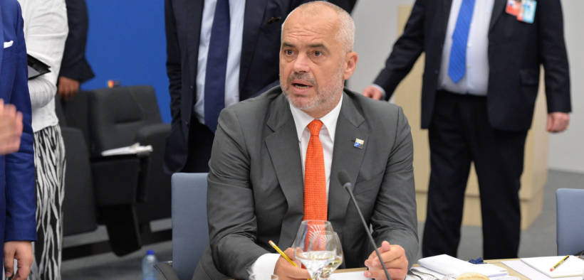 Albanian Prime Minsiter Edi Rama at a NATO meeting in Brussels. Date: May 25, 2017.