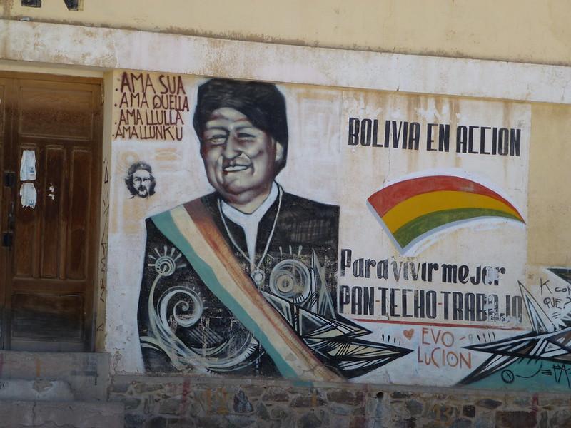 Pro-Bolivian president Evo Morales painting in Villazón, Bolivia